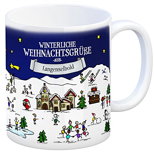 trendaffe - Langenselbold Weihnachten Kaffeebecher mit winterlichen Weihnachtsgrüßen - Tasse, Weihnachtsmarkt, Weihnachten, Rentier, Geschenkidee, Geschenk