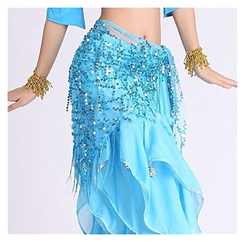 Jybhsh Estilo Belly Dance Disfraz Ligins Tassels Indian Belly Dance Hip Bufanda Mujer Belly Dance Belt 11 Colores (Color : Light Blue, Size : One Size)