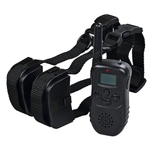 2x Collier anti aboiement électrique étanche avec Télécommande d'Ecran LCD Rechargeable Distance de Contrôle 300M pour 2 Chiens