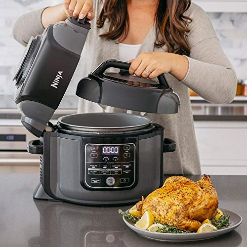 Ninja OP305 Foodi 6.5 Quart Pressure Cooker That Crisps, Steamer & Air Fryer with TenderCrisp Technology Multi-Cooker and Fryer All-in-One (Renewed)