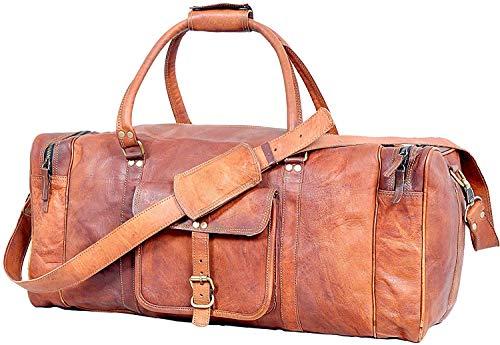 Weekender Luggage XL Geräumige Leder Sporttasche Freizeittasche Damen Herren Vintage Braun 61 cm Große Reisetasche für Herren