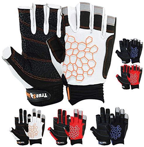 Sailing Gloves Sticky Palm Gripy Glove Yachting Kayak Dinghy Fishing Short Finger Multi Colors (Black/White/Orange, L)