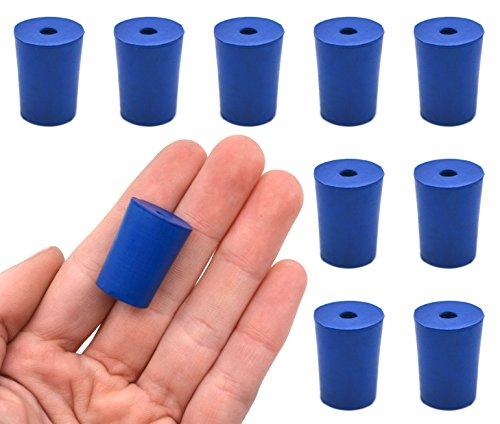Tapón de neopreno, 1 agujero – azul, tamaño: 15 mm parte inferior, 18 mm parte superior, 24 mm de longitud – Pack de 10