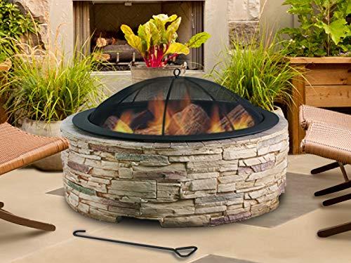 Artestia 36' Stylish Glass Reinforced Concrete (GRC) Fire Pit, Black High Heat Resistant Powder...