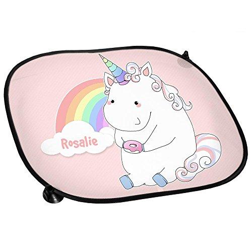 Auto-Sonnenschutz mit Namen Rosalie und schönem Einhorn-Motiv mit Donut und Regenbogen für Mädchen | Auto-Blendschutz | Sonnenblende | Sichtschutz