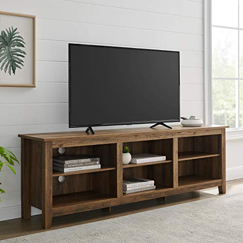 """Walker Edison Furniture Company Minimal Farmhouse Wood Universal Stand for TV's up to 80"""" Flat Screen Living Room Storage Shelves Entertainment Center, 70 Inch, Reclaimed Barnwood"""