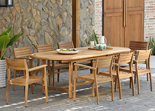 Amazonia Coventry 9-Piece Oval Patio Dining Set Certified Teak | Ideal for Outdoors, Light Brown