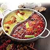 CHXIHome 28/30cm Hot Pot Twin Divided Cookware Hot Pot, Ruled Compatible Soup Stock Pots, Gas Stove Electric Hot Pot Soup Stock Pot(28cm)