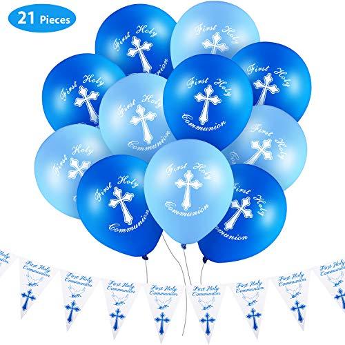 Gejoy Set di Prima Comunione Decorazione, Include 20 Pezzi Palloncini di Prima Santa Comunione e Banner della Prima Comunione per Festa di Compleanno, Blu