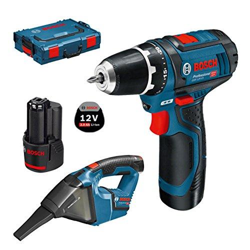 Bosch Professional 12V atornillador a batería GSR 12V-15 + aspirador a batería GAS 12V-LI (2 baterías 2,0 Ah, L-BOXX)