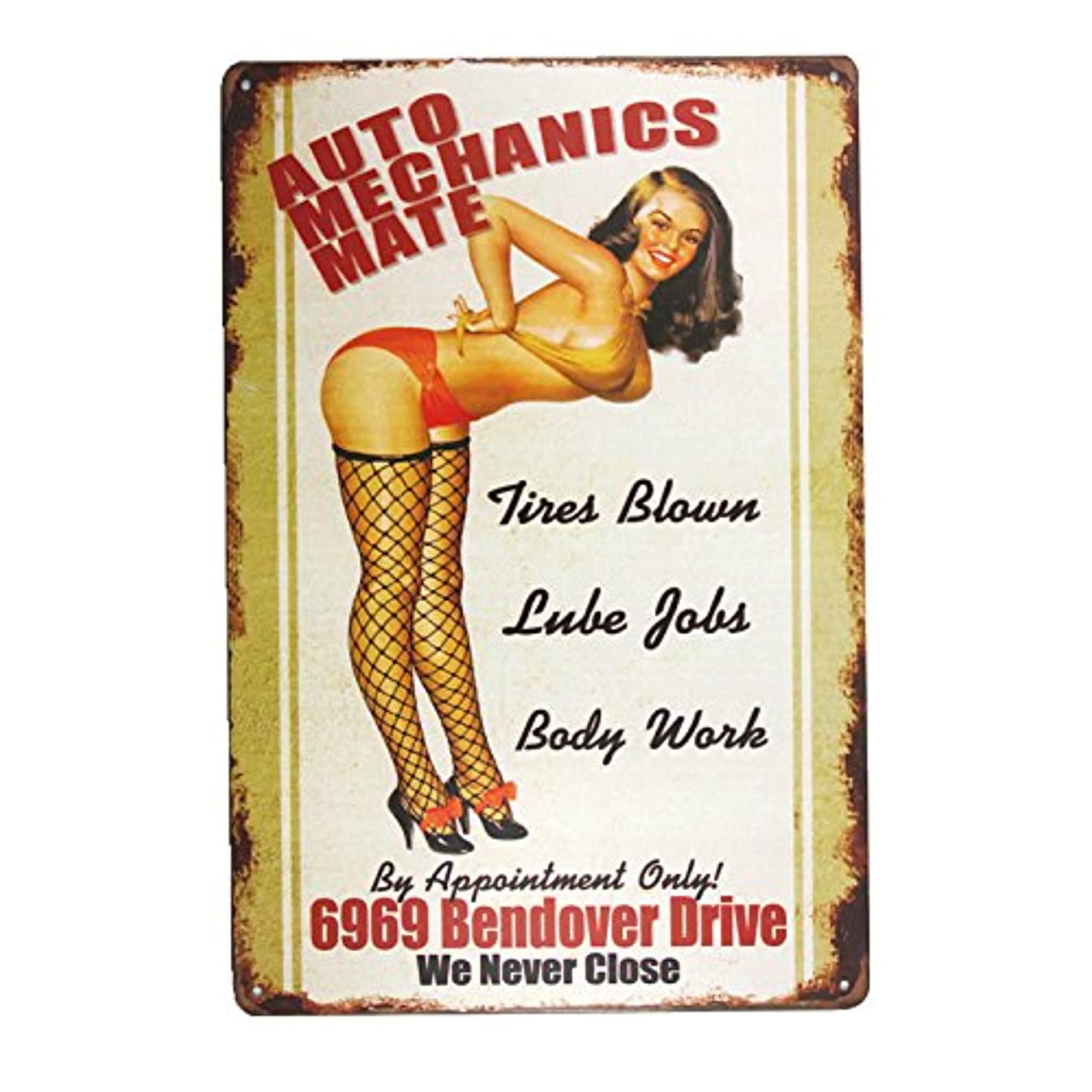 dingleiever DL-AUTO Mechanics Mate Sign Garage Signs for Men Home Decor pin up Poster House Rules Wall Art Decor