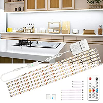 wobsion Led Under Cabinet Lighting, 6 PCS Dimmable Strip Lights with RF Remote, 12V Cabinet Lighting,High Bright with 180 LEDs,6000K Daylight White for Kitchen Cabinet,Counter,Bedroom,Shelf,Showcase