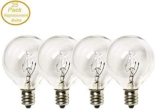SkrLights Clear Globe Bulbs Replacement G40 Screw Base Light Bulbs 1.5 Inches, 5 Watt, C7/E12 Base - 25 Pack