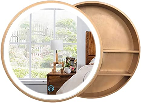 Amazon Com Bathroom Mirrors Cabinets Push Pull Smart Round Mirror Cabinet Bathroom Wall Mirror Illuminated Led Cabinet Storage Cabinet Color Gold Size 60cm 23 6inches Home Kitchen