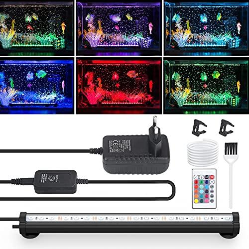 Luce LED per Acquario, con Funzione Bolla, IP68 Illuminazione Acquario, Impermeabile Resistente Calore Telecomando Luci, Luce Subacquea RGB Multicolore per Kit Luce Acquario(32 cm)