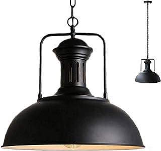 Concise - Lámpara de techo colgante de estilo vintage con forma de cuenco envejecido, hierro forjado, cadena ajustable para colgar (33 cm)