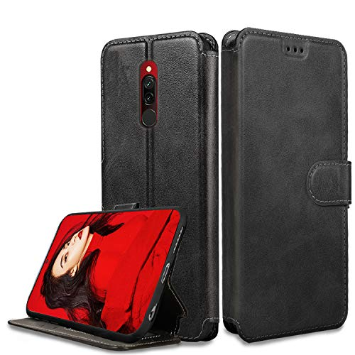 LeYi Hülle kompatibel für Xiaomi Redmi 8 Mit HD Folie Schutzfolie,Leder Wallet Etui Handyhülle Magnet Tasche Slim Silikon Soft Bumper TPU Schutzhülle Cover Case für Handy Redmi 8-Matt Schwarz