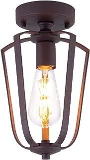 SHENGYADI Vintage Industrial Semi Flush Mount Ceiling Light Mini Geometric Ceiling Lamp Lighting Fixture for Kitchen Hallway Bedroom Stairway Entryway Farmhouse, Coffee Brown