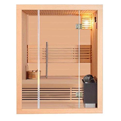Classica Sauna Stavanger II con stufa Harvia, Sauna Finlandese da 4500W con luce e accessori