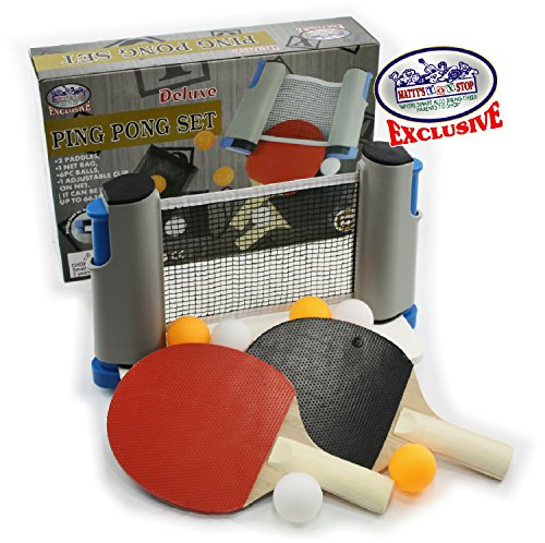 Cheapest Prices! Matty's Toy Stop Deluxe Table Tennis (Ping Pong) to Go with Fully Adjustable Net, 2...