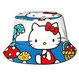 Bucket Hat Hellokitty Bucket Sun Hat para Hombres Mujeres -Protección Gorra de Pescador de Verano Empacable para Pesca, Safari, Paseos en Bote en la Playa Negro
