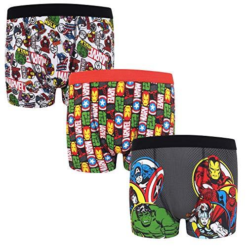Marvel - Pack de 3 Calzoncillos Oficiales de Estilo bóxer - para niños - «Los Vengadores», Hulk, Iron Man - Rojo - 9-10 años