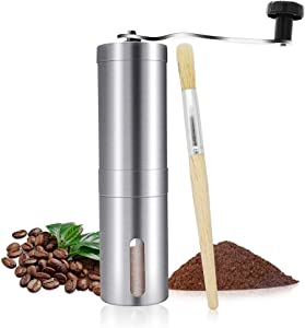 Manual Coffee Grinder, Adjustable Ceramic Conical Burr Stainless Steel Coffee Grinder, Portable Hand Coffee Mill Ideal for Home, Office, Outdoor, Travel