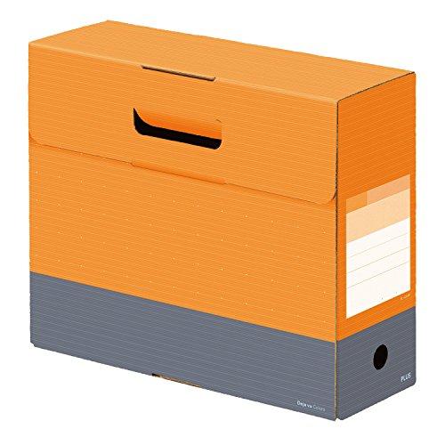 プラス ファイルボックス フタ付き A4横 背幅100mm デジャヴ ネーブルオレンジ 76-132