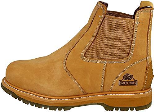 Groundwork Mens lavoro Slip On Chelsea Dealer stivali di sicurezza protezione punta in acciaio, Oro (miele), 40 2/3 EU