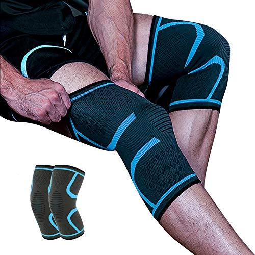 QUTAII Kniebandage, 2 Pack Kniebandage Anti-Rutsch Kompression Knieorthese, Premium Kompressionsbandage die stabilisierend und schützend wirkt rutschfeste Kniebandagen (L)