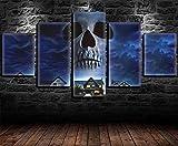 REWE TIK Tok Cuadros Decoracion Salon Modernos Baratos Póster de película de Terror-A_200 × 100CM 5 Piezas Cuadro sobre Lienzo Impresiones Artísticas Pinturas Carteles Vintage