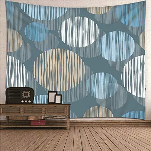 Aimsie Tapiz de pared, diseño minimalista, estampado redondo y a rayas, poliéster, 150 x 150 cm, multicolor