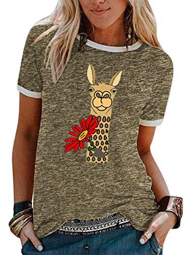 Camiseta de Alpaca para Mujer, Camiseta Unisex, Divertida Camiseta de Viaje, Camisetas Casuales de Manga Corta