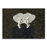 ZNNHEROヴィンテージ抽象的な黒と白の女の子ファッションスタイルアートキャンバス絵画北欧ポスター壁の写真リビングルームの家の装飾-60X90Cmx1フレームなし
