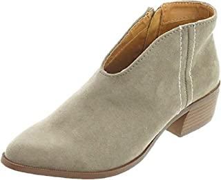d358f591aef14a Sandale Femme Talon Daim Cuir 4 CM Cheville Basse Plates Zippe Haut Ete  Printemps Chic Elegante