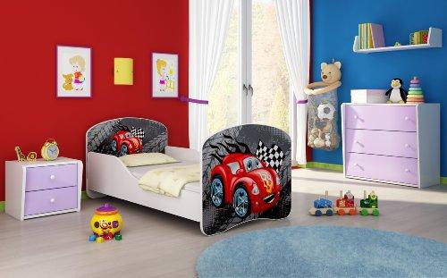 Letto per bambino Cameretta per bambino con materasso Cassetto ACMA I (04 Macchinetta azzurra, 140x70)