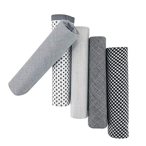 5 Pack Handkerchief Mens Cotton Luxury Hot Silver Gift Box Set, Vintage 40x40cm Fancy Design Pocket Square Hankie Gift Pack (Grey)