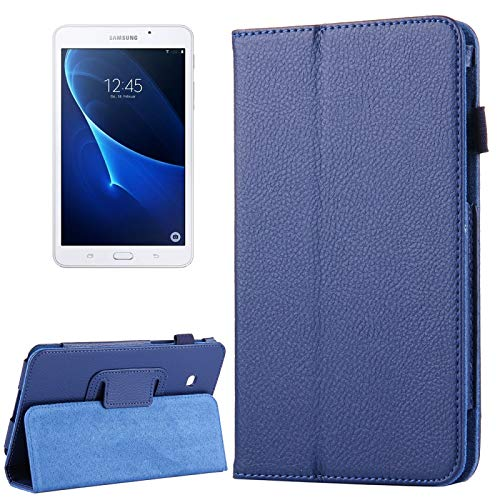Zhangli Fundas para tabletas Galaxy para Samsung Galaxy Tab A 7.0 / T280 Litchi Texture Funda de Cuero con Tapa magnética Horizontal con Soporte Fundas para tabletas Galaxy (Color : Dark Blue)