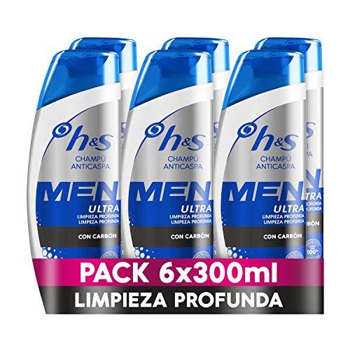 H&S Men Ultra Limpieza Profunda Champú Anticaspa 6 x 300ml, Con Carbón Para Un Pelo Y Un Cuero Cabelludo Ultralimpios