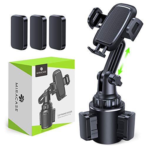 [Upgraded Version] Cup Holder Phone Mount,Miracase Long Neck Never Shake Car Cup Phone Holder Cradle Car Mount for iPhone 12/12 Pro max/11 Pro/XR/XS Max/X/8/7 Plus/6/Samsung S10/Note 9/S8/S7,GPS etc