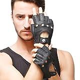 Nappaglo Herren Hirschleder Fingerlose Handschuhe Halbfinger Lederhandschuhe für fahren Motorrad Radfahren Ungefüttert Handschuhe (L (Umfang der Handfläche:21.6-22.8cm), Schwarz)