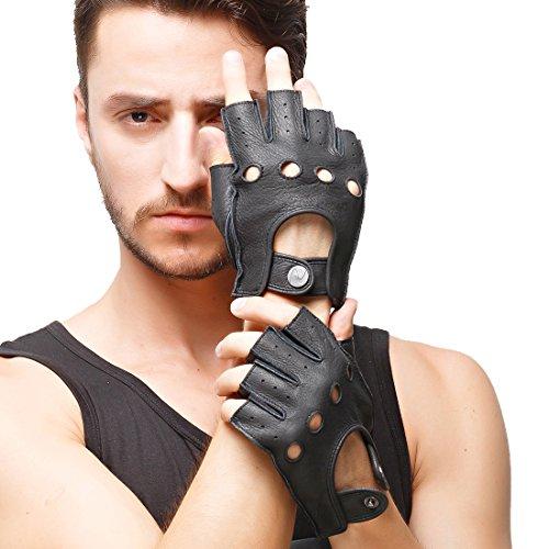 Nappaglo Herren Hirschleder Fingerlose Handschuhe Halbfinger Lederhandschuhe für fahren Motorrad Radfahren Ungefüttert Handschuhe (M (Umfang der Handfläche:20.3-21.6cm), Schwarz)