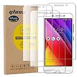 pinlu [4 Pack Protector de Pantalla de Cristal para ASUS Zenfone MAX ZC550KL Protector Cristal Vidrio Templado [9H/2.5D/0.26mm, 99% TransPrincipale]