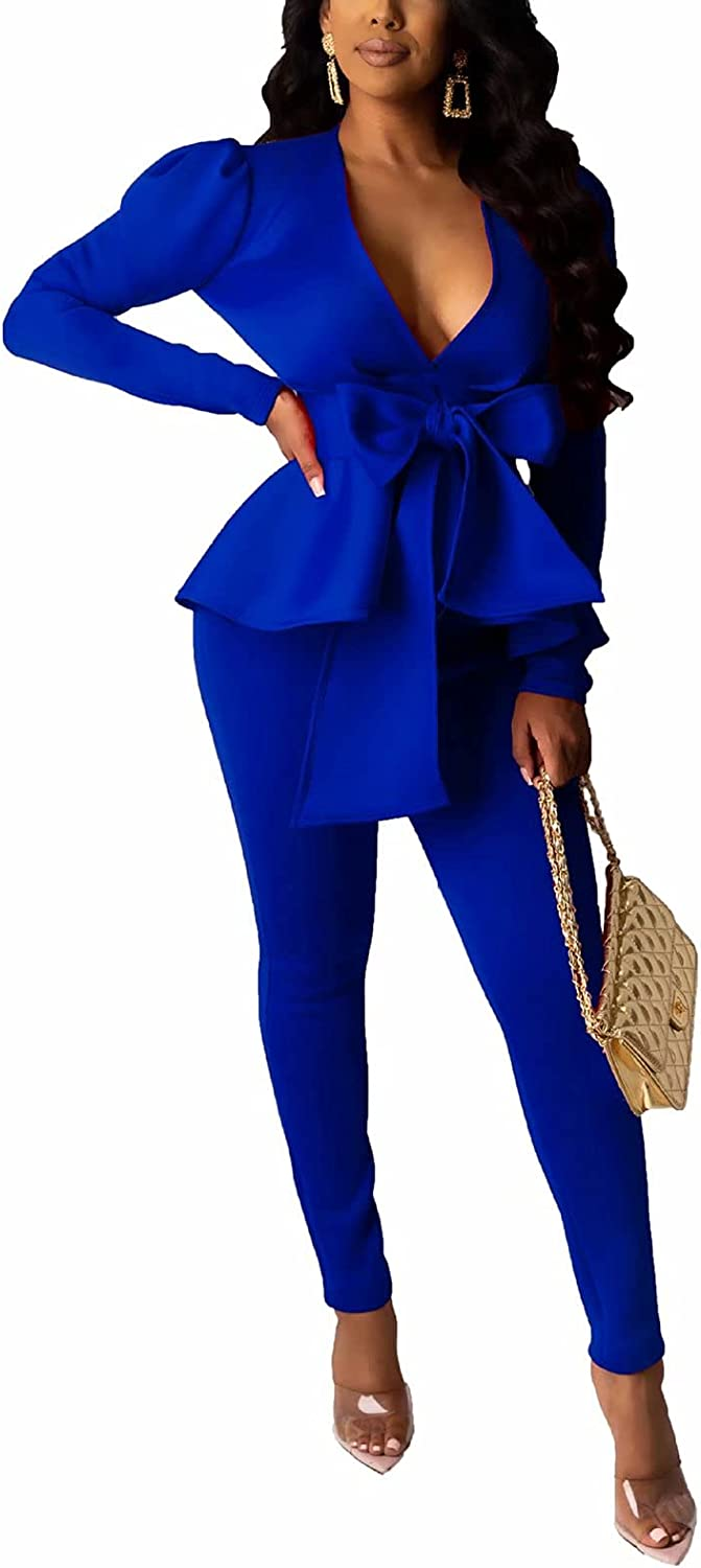 Remelon 2 Piece Outfits Virginia Beach Mall for Women Ranking TOP4 Long Deep Pants Blazer V with