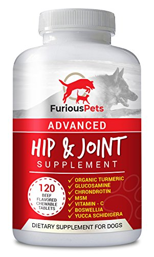 Glucosamine Supplement for Dogs with Chondroitin, MSM & Turmeric for Large & Small Canines Hip and Joint Nutritional Supplements - 120 chewable tablets
