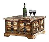 The Wood Times Couchtisch Tisch Massiv Vintage Look Delhi Holz FSC Recycled, LxBxH 70x70x40 cm