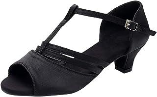 Femmes Sandales Talon Bas Chaussures à Boucles Danse Rumba Valse Bal Salle De Bal Latine Chaussures
