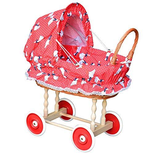 Puppenwagen aus Weide Holz Weidenwagen Kinderwagen Weidenpuppenwagen Gänschen