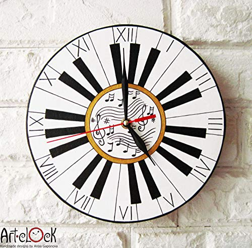 Mari57llis prz0vprz0v Do Re Mi Wall Clock, Piano Music, Modern Wall Clock, White Wall Clock, Wood Clock, White Home Decor, for Office, Industrial Style 12