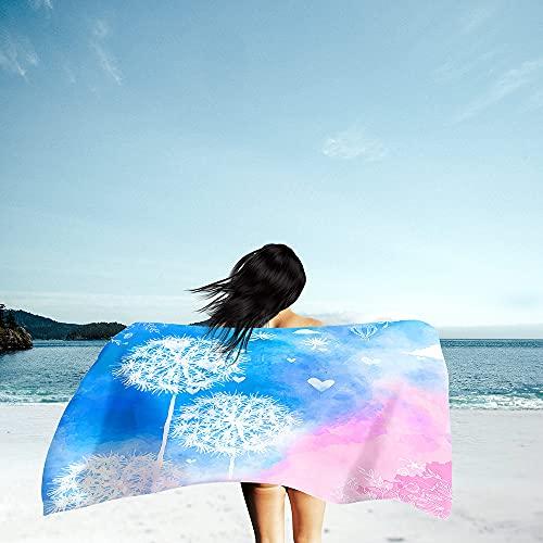 Toalla de Playa Grande Rectángulo, Chickwin Microfibra Absorbente Compacto Resistente Manta de Verano Toalla de Deportes para Piscina Playa Viaje Camping (Azul Rosado,80x160cm)